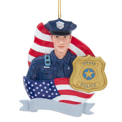 Policeman with Flag and Badge for Personalization Ornament by Kurt Adler