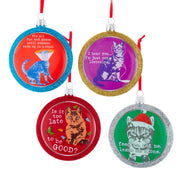 Dog Is Good Cat Disc Ornaments - Set of 4 by Kurt Adler