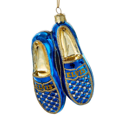 Elvis Blue Suede Shoes Glass Ornament by Kurt Adler