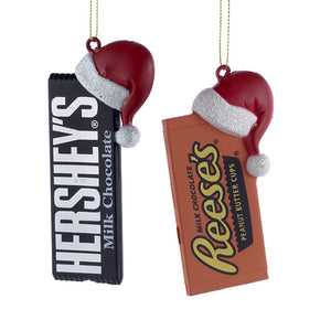 Hershey Bars with Santa Hats Ornaments - Set of 2 by Kurt Adler