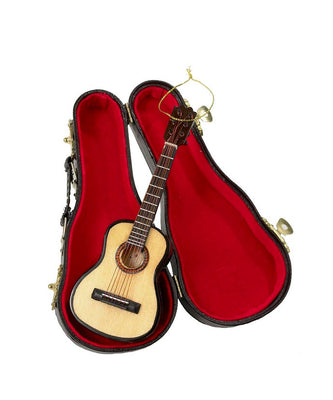 Wooden Pearlized Guitar Ornament with Black Case by Kurt Adler