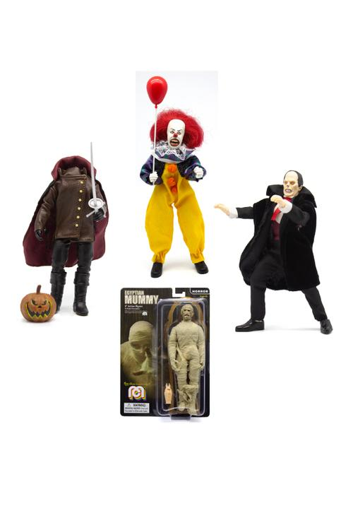 "Horror Wave 7 - Set of 4 - 8"" Action Figures The Mummy, Headless Horseman, Pennywise, and Phantom of the Opera (Pre-Order Ships Late February)"