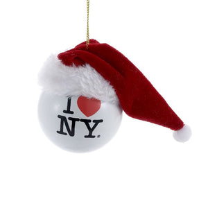 I Love NY Ball with Santa Hat Ornament by Kurt Adler