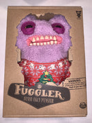 "Fuggler Funny Ugly Monster, 9"" Plush Creature with Teeth - Purple with Christmas Sweater"