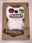 "Fuggler Funny Ugly Monster, 9"" Mr Button Plush Creature with Teeth - Red/Green Eyes"