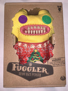 "Fuggler Funny Ugly Monster, 9"" Plush Creature with Teeth - Yellow with Christmas Sweater"