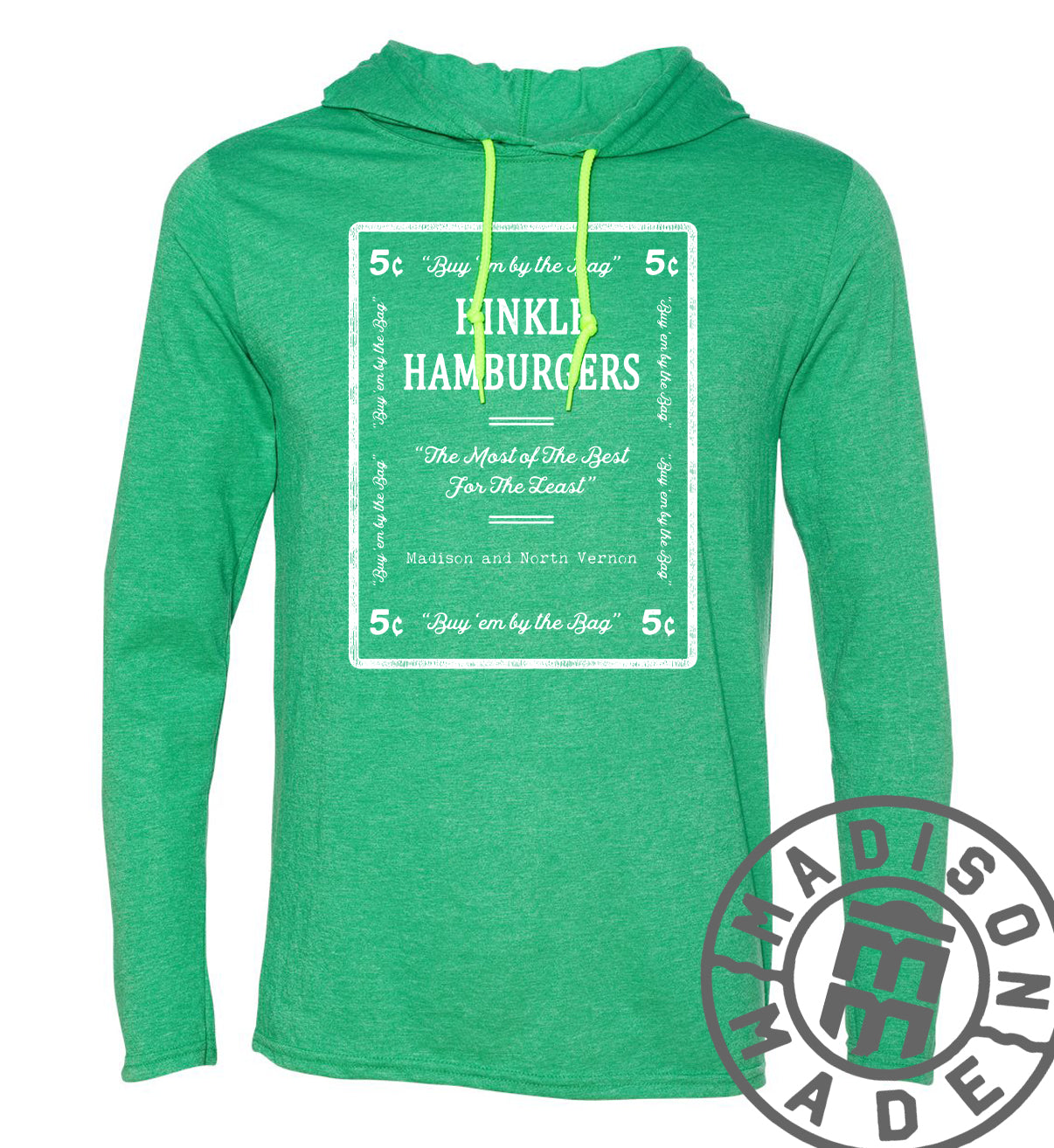 Hinkle's Long Sleeve Green Hooded Tee