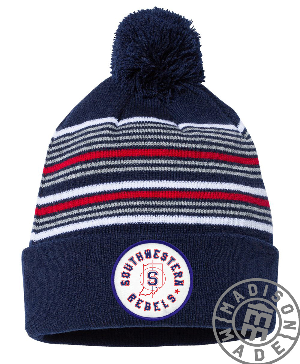 Southwestern Navy Striped Beanie