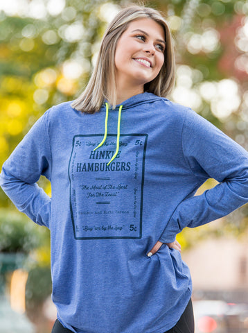 Hinkle's Long Sleeve Blue Hooded Tee