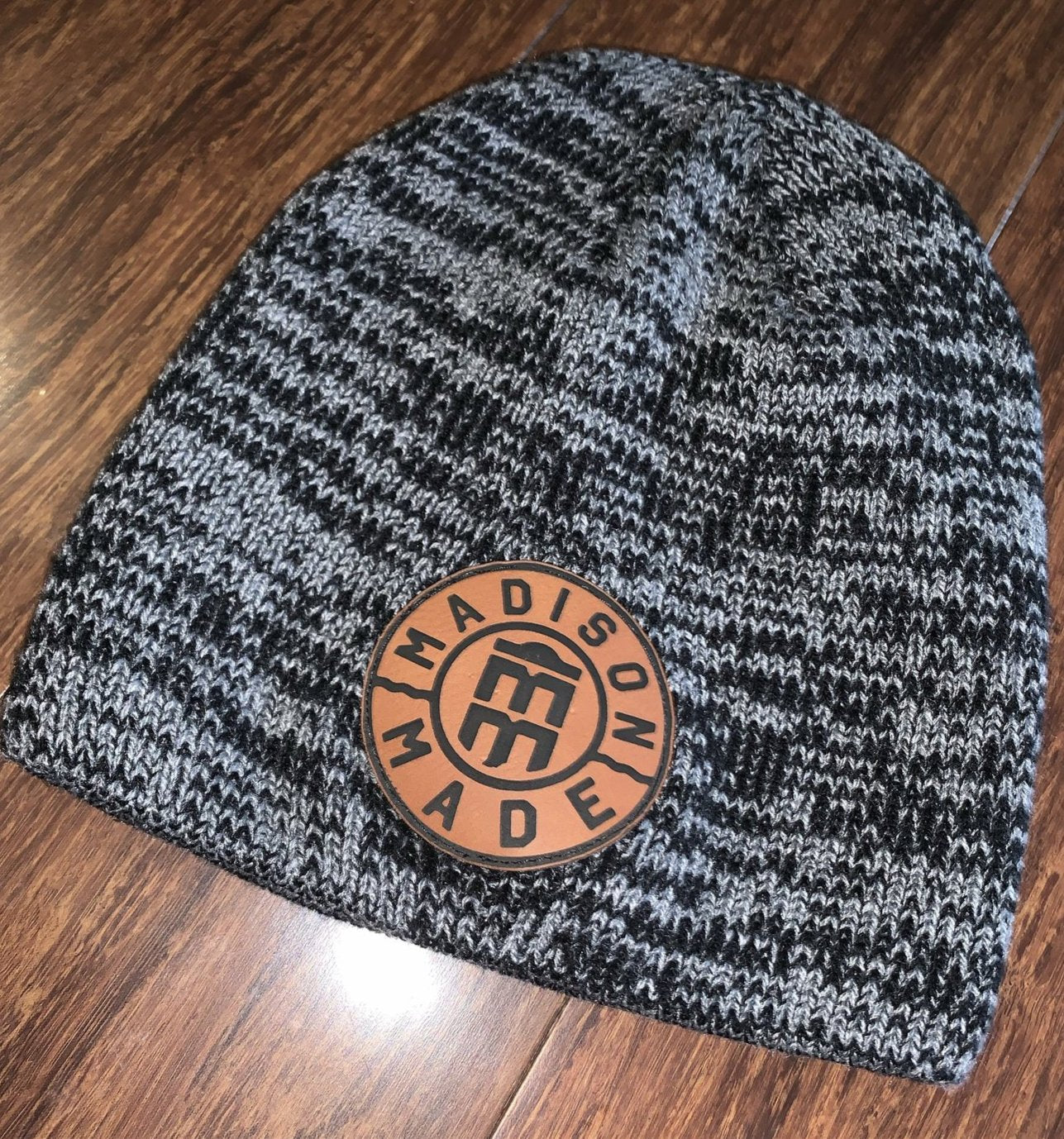 Madison Made Leather Patch Beanie