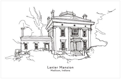"Lanier Mansion Line Drawing 11"" x 17"" Print"