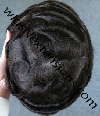 "Toupees/Hairpiece, WNE-701A, Mono in Centre with 1"" clear Poly Around"