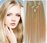 Clip In 100%  High Quality REMY HUMAN HAIR Extensions Blonde Color #27/613