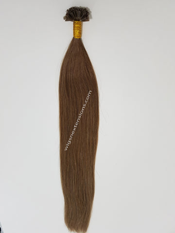 Nail/U Tip Hair Extensions Colour Caramel Brown #8  High Grade  24 Inches