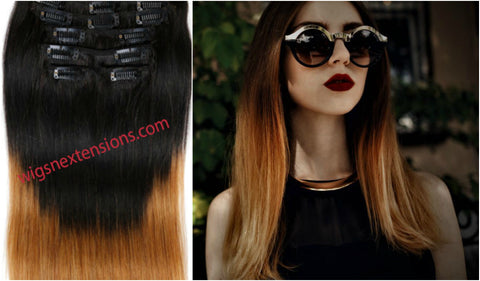 Clip In 100%  High Quality REMY HUMAN HAIR Extensions   T#1B/#27