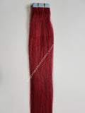 Tape In Remy Human  Hair Extensions Grade 8A  Colour # Burgundy