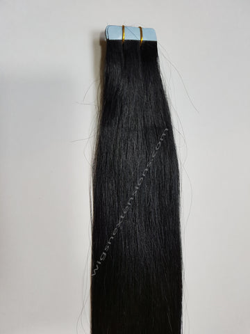 Tape In Remy Human  Hair Extensions Grade 8A  Colour # 1   Jet Black