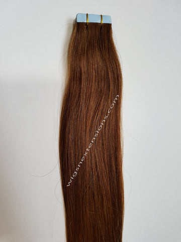 Tape In Remy Human  Hair Extensions Grade 8A  Colour # 6 Caramel