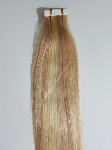 Tape In Remy Human  Hair Extensions Grade 8A  Colour # 613/18