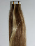 Tape In Remy Human  Hair Extensions Grade 8A  Colour # 8/22