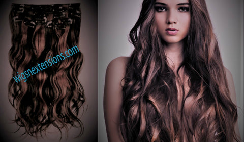 Clip In 100%  High Quality REMY HUMAN HAIR Extensions   Streakes #1B/#33