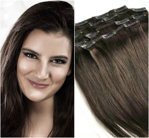 Clip In 100%  High Quality REMY HUMAN HAIR Extensions Dark Brown Color #2