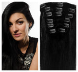 Clip In 100%  High Quality REMY HUMAN HAIR Extensions Jet Black Color #1