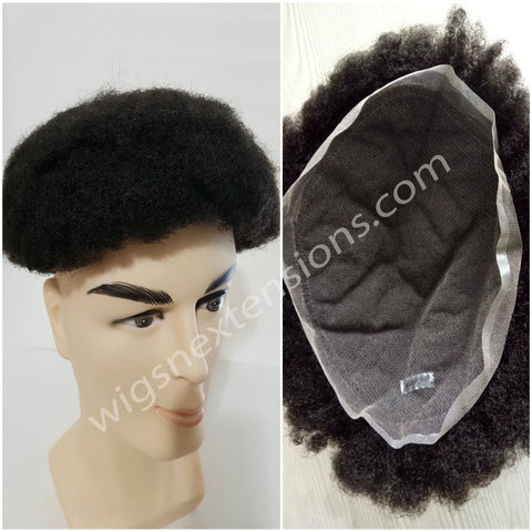 Toupees/Hairpiece, WNE-501, Full French Lace, 100 % High Quality Remy AFRO CURL Human Hair for Black Men