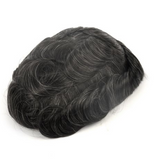 Toupees/Hairpiece, WNE-601, Full French Lace, 90 % High Quality Remy Human Hair Natural Black + 10% Synthetic Grey for Men