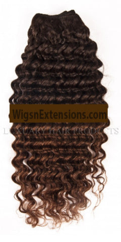 Machine Weft Curly Two Tone Colour   #T2/4   for Full Head (  3 Package Bundle = 300Grams )