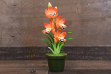 Clay Flowers Art Handmade Mini Orchid Orange Cymbidium Cute Hand Painted Flower