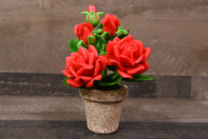 Clay Flowers Handmade Mini Red Rose Cute Hand Painted Valentines Day Gift