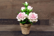 Clay Flowers Handmade Mini White/Pink Rose Cute Hand Painted Flower
