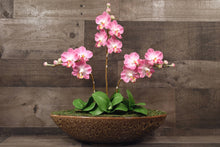 Hand Sculpted Three Stem Clay Flowers Home Decor Handmade Large Phalanopsis Pink Orchid Hand Painted Flower