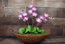 Hand Sculpted Clay Flowers Home Decor Handmade Purple Three Stem Large Phalanopsis Orchid Hand Painted Flower