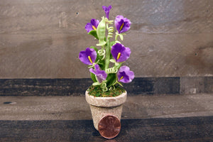 Clay Flowers Handmade Mini Purple Sweet Pea Cute Hand Painted Flower