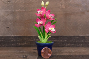 Clay Flowers Art Handmade Mini Orchid Magenta Cymbidium Cute Hand Painted Flower