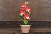 Clay Flowers Art Handmade Mini Orchid Pink Cymbidium Cute Hand Painted Flower