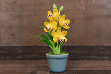 Clay Flowers Art Handmade Mini Orchid Yellow Cymbidium Cute Hand Painted Flower