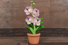 Clay Orchids Art Handmade Mini Orchid White/Purple Vanda Pannee Cute Hand Painted Flower