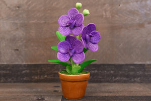 Handmade Clay Orchids Art  Mini Orchid Purple Vanda  Cute Hand Painted Flower