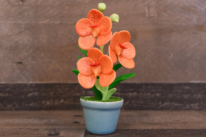 Handmade Clay Orchids Art  Mini Orchid Orange Vanda  Cute Hand Painted Flower