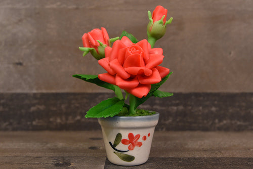 Clay Flowers Handmade Mini Red Roses Cute Hand Painted