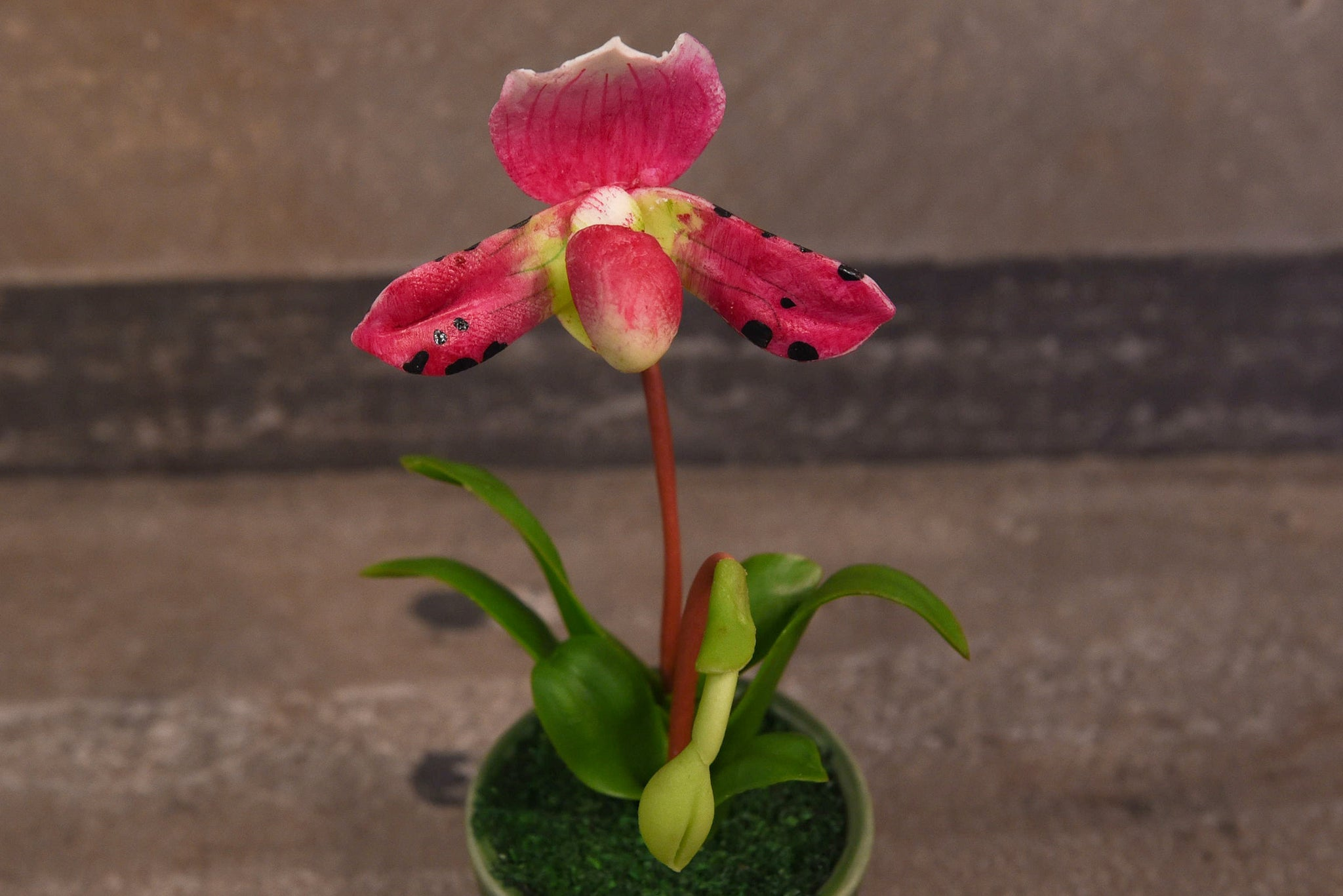 Clay Flowers Art Handmade Mini Orchid Ladys Slipper Deep Pink Cute