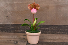 Clay Flowers Art Handmade Mini Orchid Lady's Slipper Pink Brown Cute Hand Painted Flower