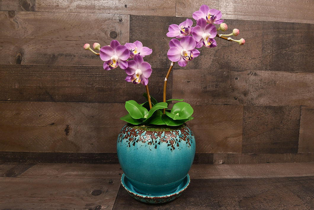 Hand Sculpted Clay Flowers Art Home Decor Handmade Large Purple Phalanopsis Orchid Hand Painted Flower