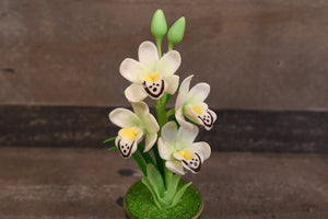 Clay Flowers Art Handmade Mini Orchid White Cymbidium Cute Hand Painted Flower