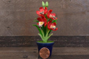 Clay Flowers Art Handmade Mini Orchid Dark Red Cymbidium Cute Hand Painted Flower