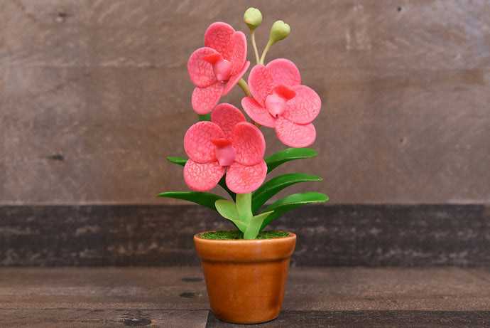 Handmade Clay Orchids Art  Mini Orchid Pink Vanda  Cute Hand Painted Flower