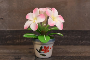 Clay Flowers Handmade Mini White/Pink Plumeria Hawaiian Flower Cute Hand Painted
